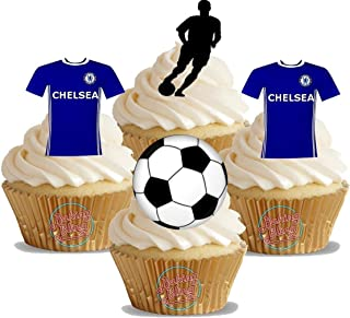 12 x Chelsea FC Soccer Mix - Fun Novelty Birthday PREMIUM STAND UP Edible Wafer Card Cake Toppers Decorations (Unflavoured)