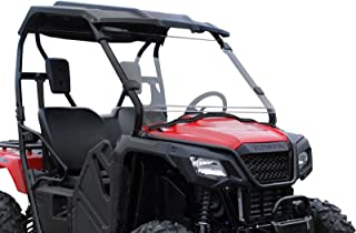 SuperATV Heavy Duty Scratch Resistant Full Windshield for Honda Pioneer 500 (2015+) - Hard Coated for Extreme Durability - Installs in 5 Minutes!