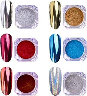 AIMEILI 6 Boxes Nail Art Mirror Powder Set Rainbow Unicorn Chrome Nail Art Pigment Glitter Dust Shinning Hologram Laser Powder Chameleon Mermaid Nail Power Manicure Kit