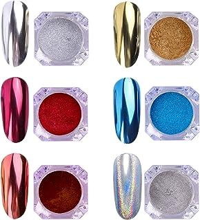 AIMEILI 6 Boxes Nail Art Mirror Powder Set Rainbow Unicorn Chrome Nail Art Pigment Glitter Dust Shinning Hologram Laser Po...