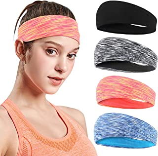 4 Pack Workout Headband Anti-slip Sweat Wicking Hair Bands for Yoga Running Tennis Sport Athletic Exercise Headbands Fit A...
