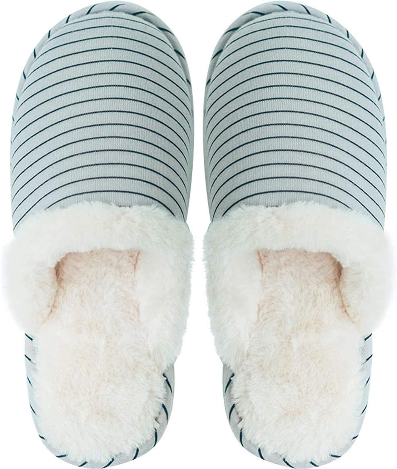 Women's Cute Stripes Slippers Winter Warm Mute Home shoes Indoor Non-Slip Bedroom shoes