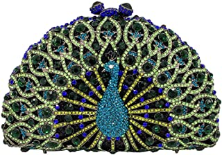 HUIfenghe Peacock Phoenix Shape semi-Circular Evening Bag Diamond Chain Shoulder Bag Wedding Bride Dress Bridesmaid Clutch Bag Handbag Lady Wallet Size: 17 * 8 * 11.5cm (Color : Green)