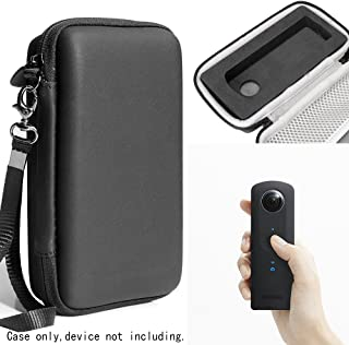 Protective Case for Ricoh Theta S, V 360 and Theta SC 360 Degree Spherica, Customized Dense Absorbing Sturdy Foam Inlay, Mesh Pocket Inside Matte Black