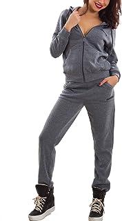1f744f65836c10 Toocool - Tuta Donna Completo Pantaloni Felpa Cappuccio Scritte Sport Zip  Nuova Me-3