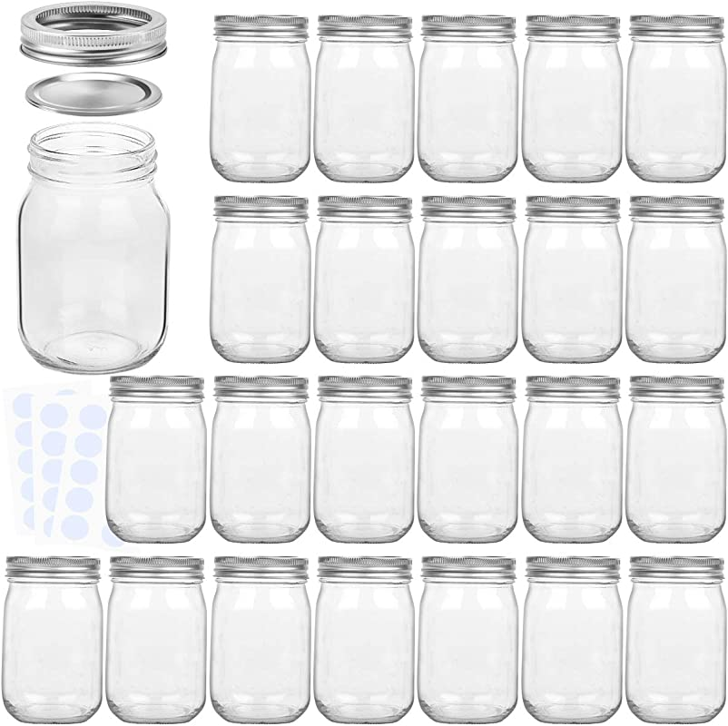 KAMOTA Mason Jars 12OZ With Regular Lids And Bands Ideal For Jam Honey Wedding Favors Shower Favors Baby Foods DIY Magnetic Spice Jars 24 PACK 30 Whiteboard Labels Included