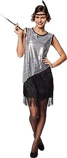 TecTake dressforfun Frauenkostüm South Carolina | Kurzes, sexy Kleid | Moderne Metallik-Optik | Inkl. Haarband mit Feder XXL | Nr. 301604