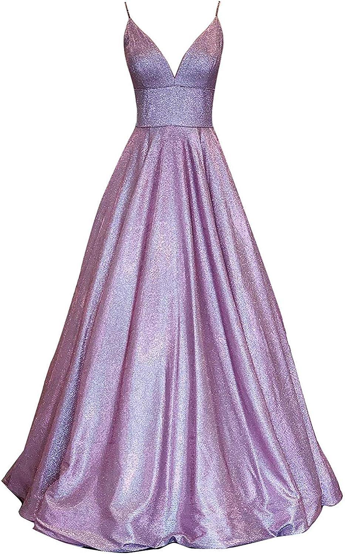 Glitter V Neck Spaghetti Strap Prom Dresses Long Evening Formal Dress