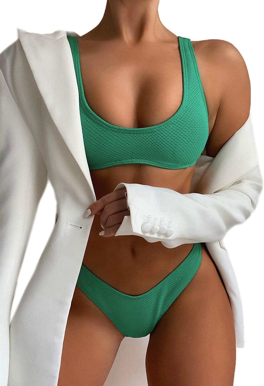 SOLY HUX Women's Scoop Neck High Cut Bikini Bathing Suits 2 Piece Swimsuits