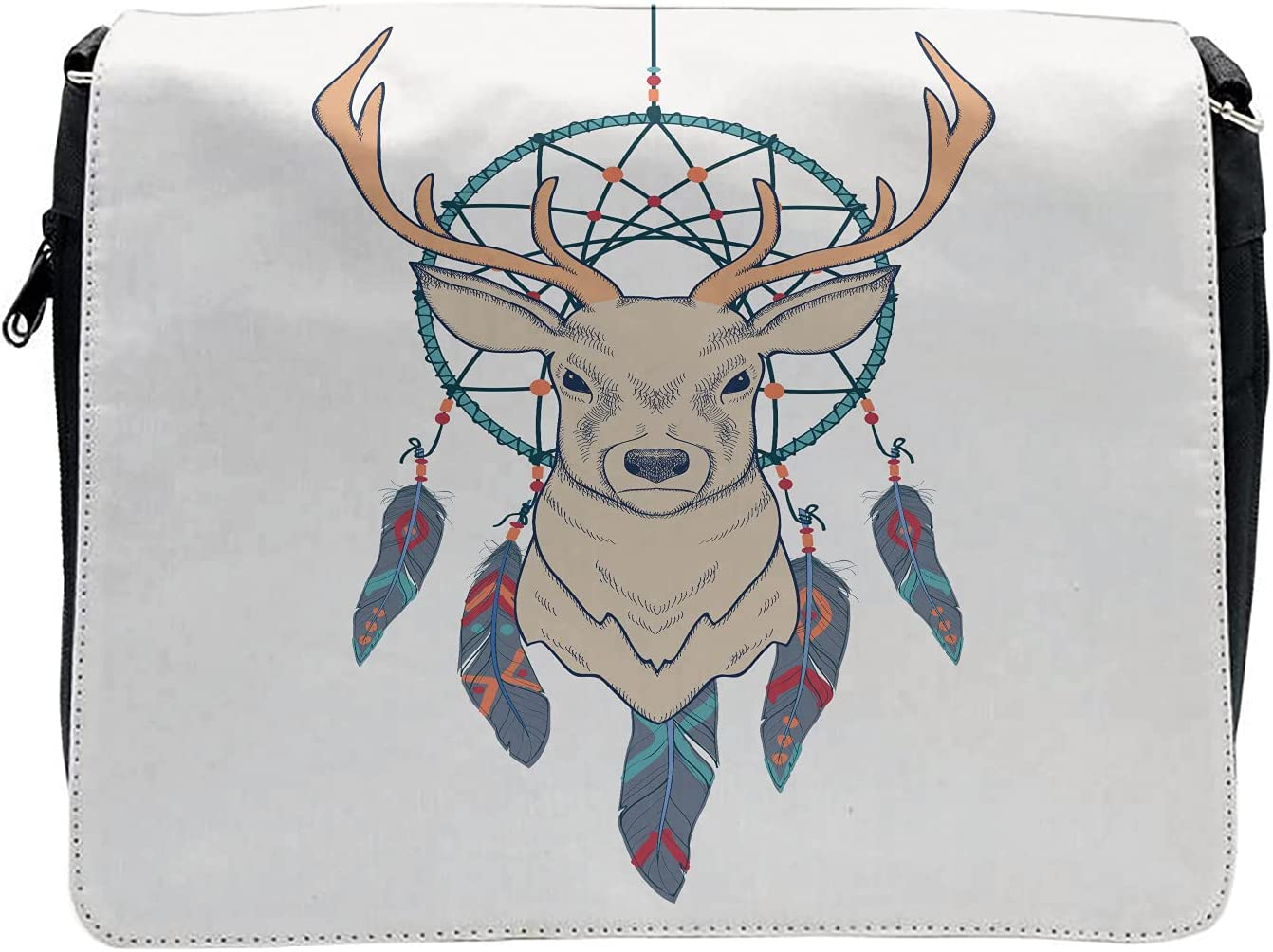 Ambesonne Deer Cross Body Messenger Bag, Animal and Folk Dreamcatcher, Unisex