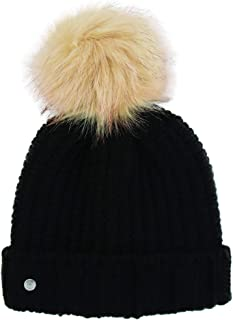 Khombu Womens Cold Weather Purl Knit Beanie with Natural Faux Fur Pom Pom