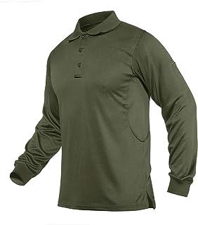 قميص رجالي عسكري بأكمام طويلة من CRYSULY بلوفر تكتيكي للجولف في الهواء الطلق تي شيرت بولو الجيش