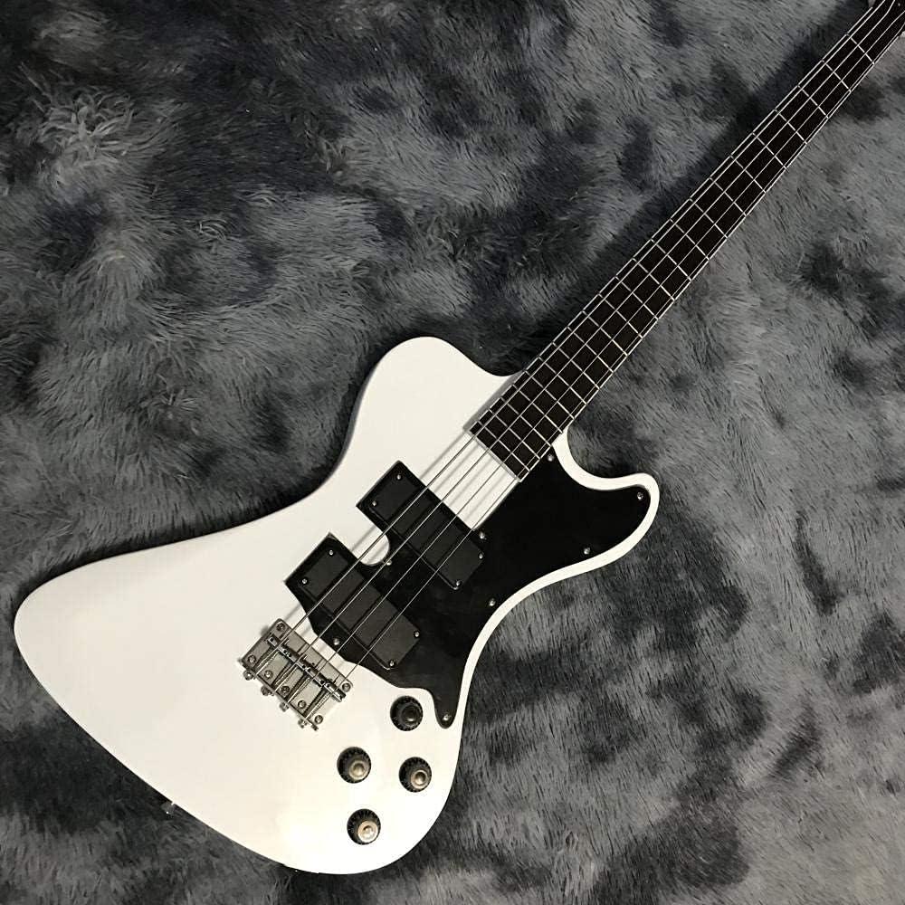 XLAHD Guitarra Bajo 4 Cuerdas bajo Cuerdas de Guitarra Blancas Cuerdas de Guitarra acústica de Acero acústico la Guitarra Guitarra eléctrica (Color: Blanco, Tamaño: 38 Pulgadas)