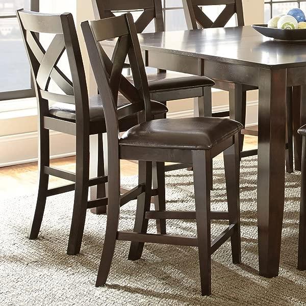 Steve Silver Crosspointe Counter Height Dining Chair Set Of 2 Dark Espresso Cherry