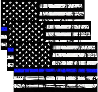 CREATRILL Reflective Tattered Thin Blue Line Decal Matte Black – 3 Packs 3x5 in. American USA Flag Decal Stickers for Cars, Trucks, Hard Hat, Support Police and Law Enforcement Officers