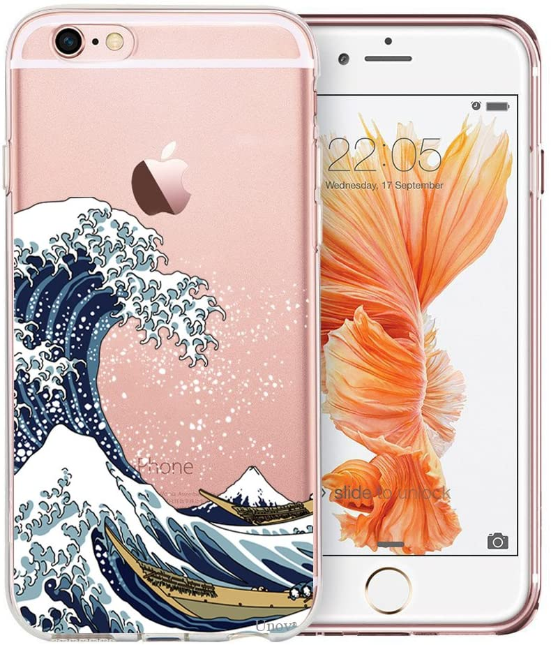 Unov Case Compatible with iPhone 6s Plus iPhone 6 Plus Case Clear with Design Soft TPU Bumper Shock Absorption Slim Embossed Pattern Protective 5.5 inch (Great Wave)