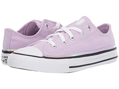 Converse Kids Chuck Taylor(r) All Star(r) Iridescent Ox (Little Kid) (Lilac Mist/White/Black) Girls Shoes