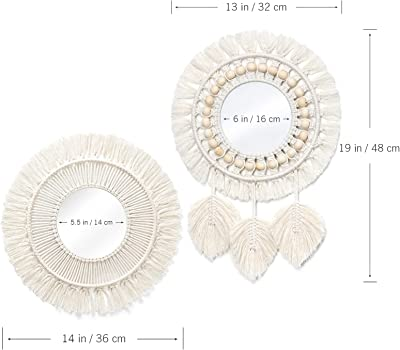 Dremisland Hanging Wall Mirror-Boho Macrame Fringe Round Decorative Mirror with Wood Beads Feather Pendant,Art Ornament for Apartment Home Bedroom Living Room -2 Set (Pattern-01)