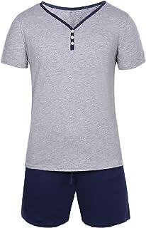 Aibrou Pijamas Hombre Verano Corto de 100% Algodón
