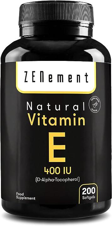 Vitamina e naturale - 400 iu (d-alfa-tocoferolo) 200 capsule sofgel antiossidante antinvecchiamento zenement Z-FTA-100161-EAN