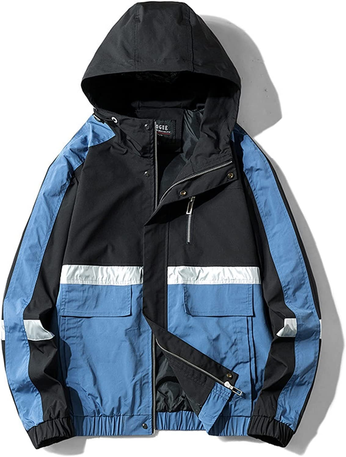 without logo Men's Workwear Function Coat 2021 Fashion Spring New Version of The Trend of Loose Mosaic Students Handsome Retro Jacket (Color : Blue, Size : Asian Size 2XL)