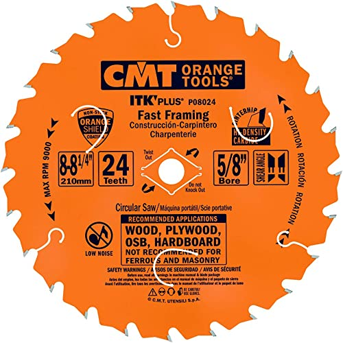 new arrival CMT P08024 discount ITK Plus online Fast Framing Saw Blade, 8-8-1/4 x 24 Teeth, 10° ATB+Shear with 5/8-Inch<> bore outlet sale