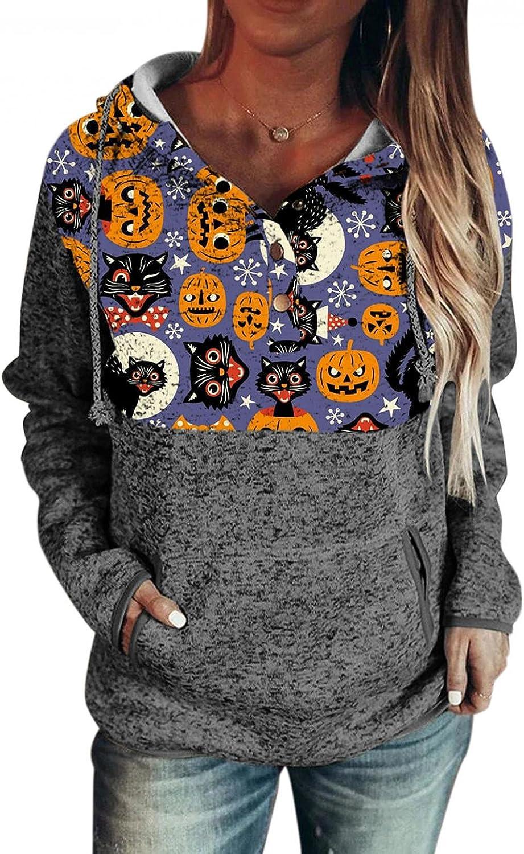 Hoodies for Women,Halloween Pullover Sweatshirt for Teen Girls Pocket Long Sleeve Pumpkin Hooded Loose Shirt Tops