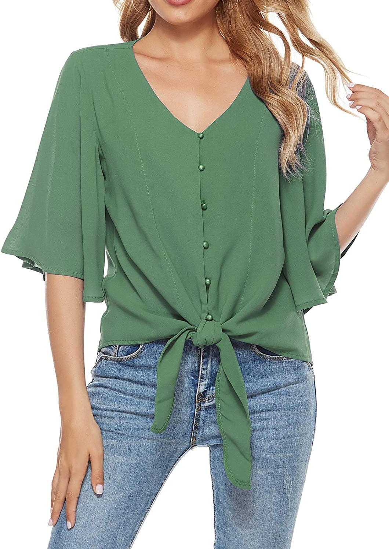 LIOFOER Women's 3/4 Sleeve Tops Ruffle V Neck Blouses Button Down Shirts