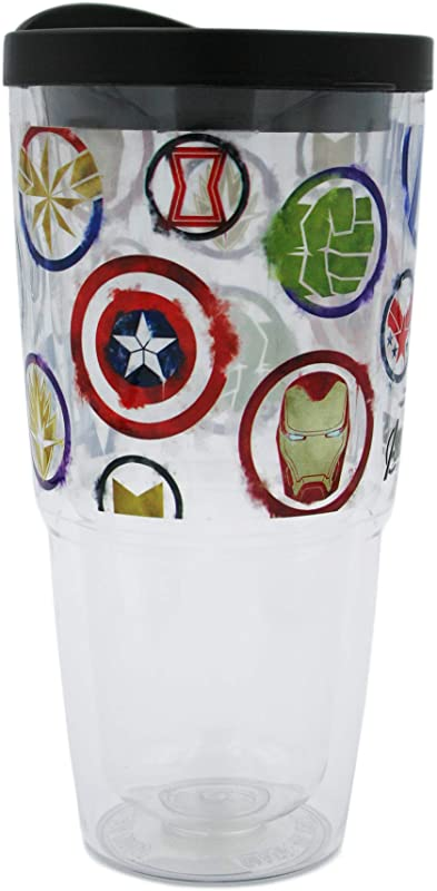 Marvel Tritan 22 Oz Plastic Tritan Tumbler Double Wall Insulated For Cold Drinks End Game Avengers Logo