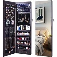 AOOU Jewelry Organizer Jewelry Cabinet,Wall Mounted Jewelry Organizer with Mirror, Full Length...