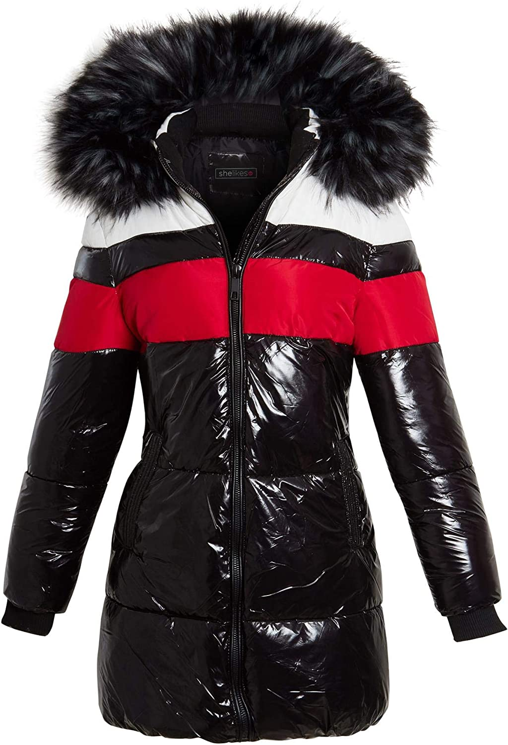 Shelikes Womens High shine Wet Look Faux Fur Parka Coat Size 10 8 12 14 16 Black Red