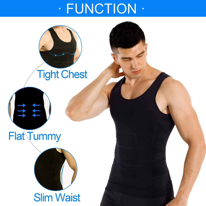 COOFANDY Men's 2 Pack Slimming Body Shaper Vest Compression Shirt Gym Workout Tank Top Sleeveless Abdomen Shapewear