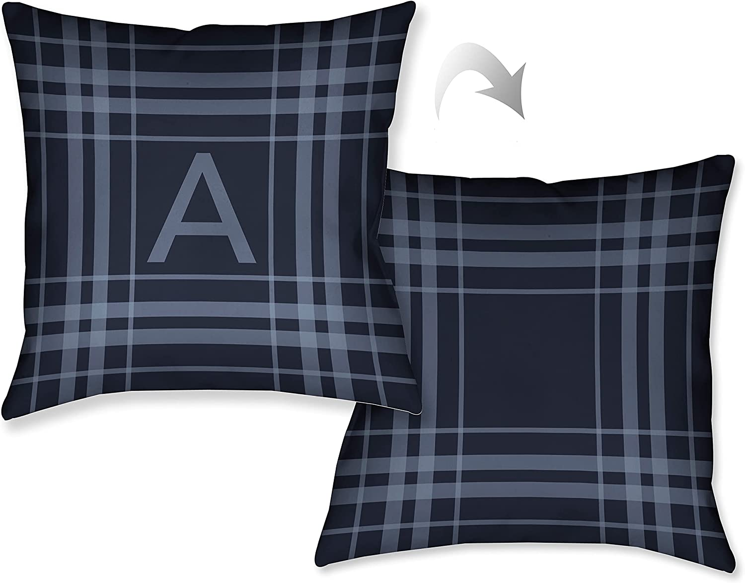 Laural Weekly update Home Plaid Navy Blue Pillow Decorative Max 45% OFF Throw 18 Monogram