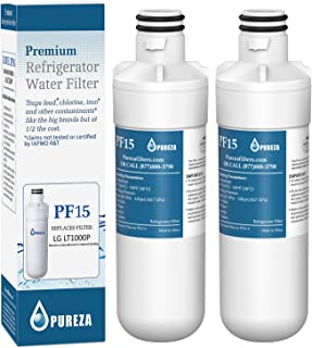 LT1000P Refrigerator Water Filter, Compatible with LG LT1000P, LT1000P, LT-1000PC, MDJ64844601, Kenmore 46-9980, 9980, ADQ74793501, ADQ74793502, by Pureza, 2 PACK