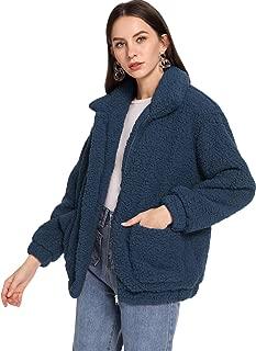 MAKEMECHIC 女式长袖拉链双口袋人造毛皮外套 *蓝 X-Large