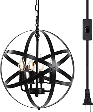 "Lika 4-Light Plug in Chandeliers 15.7"" Farmhouse Rustic Industrial Pendant Hanging Lights with Metal Shade Black Chandelier for Dining Room, Kitchen, Foyer"