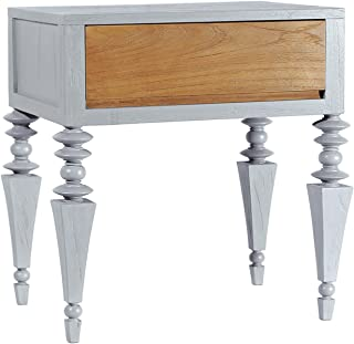 Asta Solid Wood 1-Drawer Nightstand, Side Table, Glam Collection, GG-201/GRY (Gray)