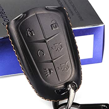 XT5 Vitodeco Genuine Leather Smart Key Fob Case with Leather Key Chain for 2015-2020 Cadillac ATS XTS 5-Button, Brown CT6 CTS SRX