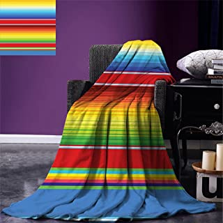 Luoiaax Abstract Throw Blanket Horizontal and Colored Ethnic Blanket Rug Lines Pattern Vibrant Abstract Design Velvet Plush Throw Blanket Multicolor