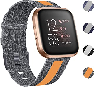 NANW Woven Bands Compatible with Fitbit Versa 2 / Versa/Versa Lite, Breathable Woven Fabric Strap, Reflective Strip Replacement Wristbands Accessories Women Man for Versa Smart Watch