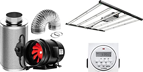 high quality VIVOSUN 6 Inch sale 390 CFM sale Inline Fan Package, with VS6450 Foldable LED Grow Light and 7 Day Programmable Digital Timer, Samsung & OSRAM Diodes online