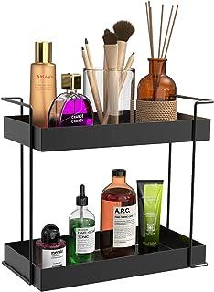 GDGDTOO 2 tier wrought iron Bathroom tray, Spice Racks Organizer Storage Shelf,vanity trays for bathroom black, Makeup Storage Kitchen Spice Rack Standing Shelf