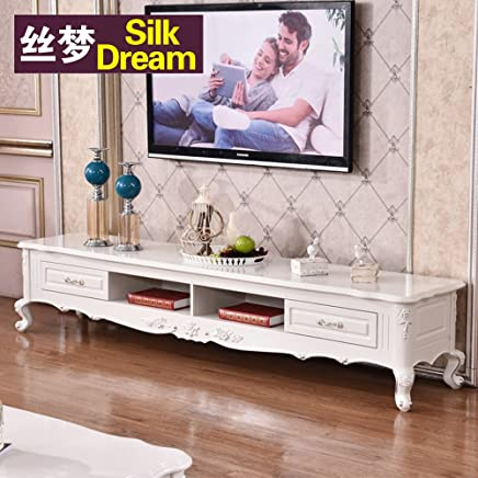 欧式木面电视柜 客厅电视柜 储物电视柜地柜 (电视柜-象牙白描银木面, 1.8M*0.46M*0.45M)