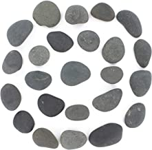24 Rocks for Painting - Flat & Smooth Kindness Rocks for Arts, Crafts, and Decoration - Stones w/Easy Paint Surface - 2 to 3.5 inches - Set of 24 - Black