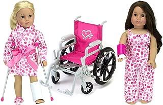 Sophia's 9 Piece Doll Wheelchair, Pajamas & Accessories for 18 Inch Dolls Like American Girl Dolls Includes Doll Wheelchair, Doll Crutches, Doll Pajamas & More