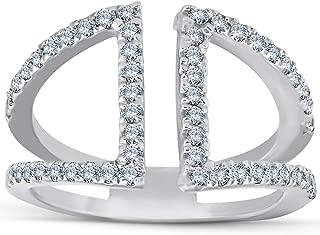 1/2ct Diamond Ring Open Fashion Right Hand Split Band White Gold