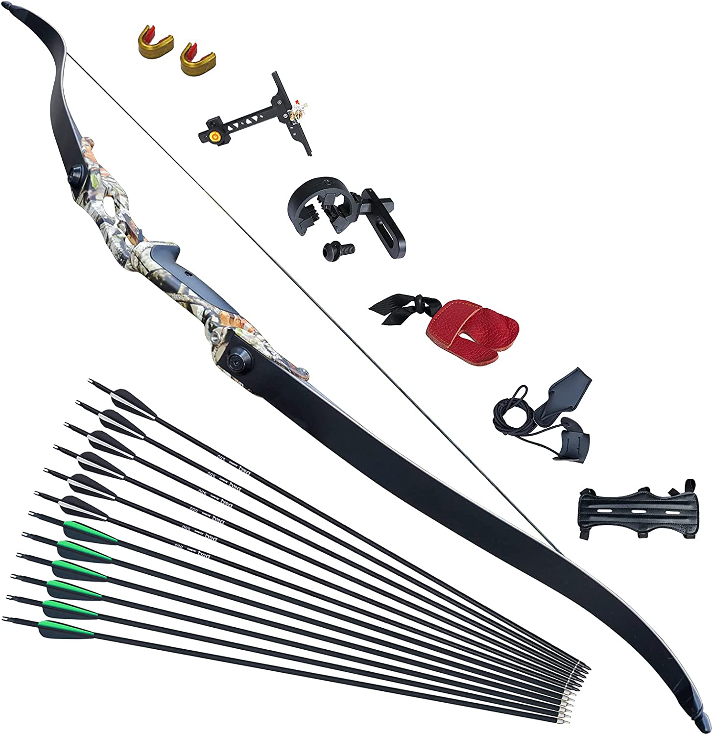 DQ unisex Recurve Bow and Arrow Set Takedown Beginner 56