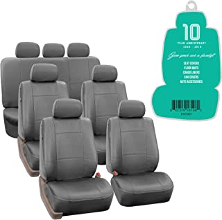 FH Group PU0021217 3 Row PU Leather Car Seat Covers w. 7 Headrests, Airbag Compatible and Split Bench, Solid Gray Color- Fit Most Car, Truck, SUV, or Van