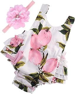 PrinceSasa Baby Girl's Floral Print Ruffles Romper Summer...