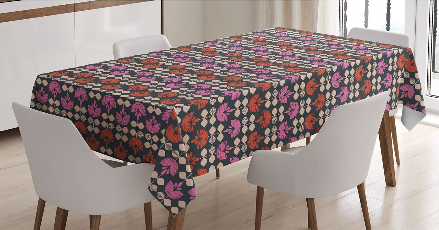 Ambesonne Floral Tablecloth Retro-Themed Ranking TOP7 Max 82% OFF Fl Arranged Vertically